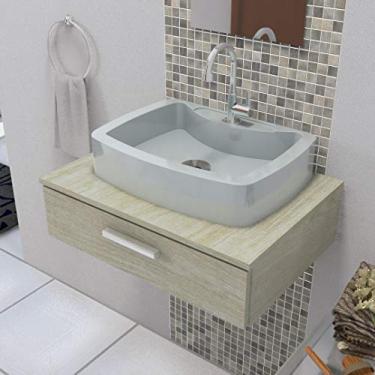 Cuba Pia de Apoio P Banheiro Retangular Albani 50x37 Cm Marmorite cinza