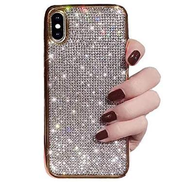 Capa para iPhone 6 Plus / 6s Plus de cristal strass diamante glitter luxo bonito brilhante brilhante capa protetora à prova de choque para iPhone 6 Plus / 6s Plus (dourado, iPhone 6 Plus / 6s Plus)