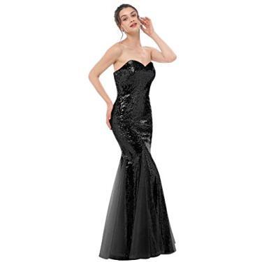Imagem de JASY Vestidos de madrinha de casamento de lantejoulas dourados rosa vestidos longos de formatura sereia para mulheres, Preto, 12
