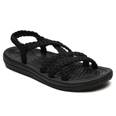 MEGNYA Sandálias femininas confortáveis para caminhadas com suporte de arco à prova d'água para caminhadas/trilhas/viagem/casamento/ponto de água/praia, Preto, 5