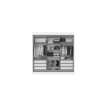 Imagem de Guarda-Roupa Casal 6 Portas e 6 Gavetas c/ Espelho Dello Fosco-Novo Horizonte - Freijo dourado / Off white