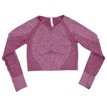 Camiseta feminina de manga comprida para ioga Valicclud sem costura para treino, camisa de compressão esportiva para academia, academia, esportes, corrida, rosa tamanho P, rosa, S