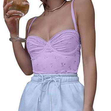 Camisete feminina sexy sem mangas renda cropped verão costas nuas modernas Y2K regata moderna, Renda, roxo, L