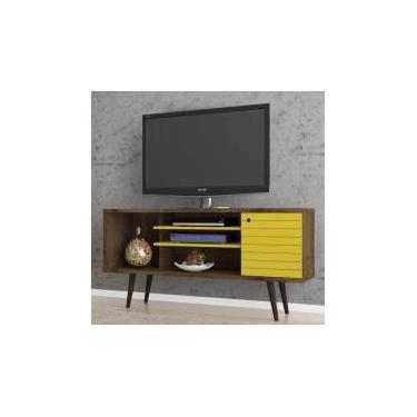 Rack para TV até 55 Polegadas 1 Porta Safira Móveis Bechara Madeira Rústica/Amarelo -