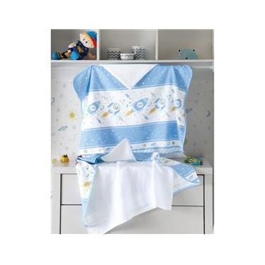 Toalha de Banho Para Bebê - Estampada - Foguete - com Fralda - com Capuz - Dohler