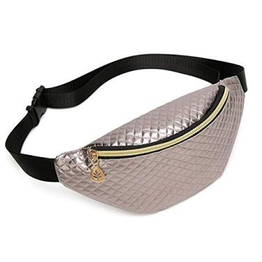 Bestmaple Bolsa de cintura feminina PU em relevo diamante bolsa de ombro personalidade feminina (prata)