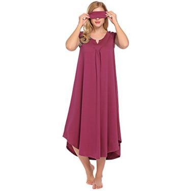 Peatao camisolas para mulheres, longo, sem mangas, gola V, vestido de noite, para o verão, Vermelho cereja, M