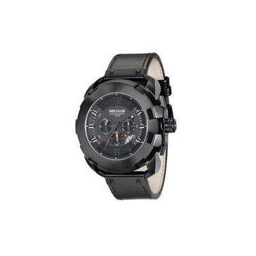 166fd37eec2 Relógio Seculus Masculino Preto Couro 20467gpsvpc1