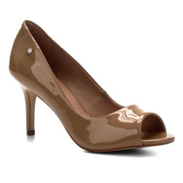 Peep Toe Shoestock Salto Médio Verniz Naked