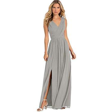 Vestido de dama de honra feminino YMSHA decote V longo chiffon dividido formal festa para mulheres noite YMS046, Prata, 10