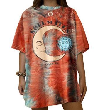 Camiseta feminina Moon and Sun, tamanho grande, vintage, estampa da natureza, blusa tie dye, túnica solta, Xyx1210303ab12, XL