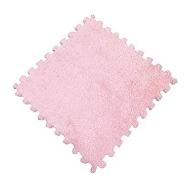 TOYANDONA Tapetes de espuma de pelúcia para brincar de bebês, tapete quadrado de espuma de EVA, tapete para quarto com azulejos interligados (rosa)