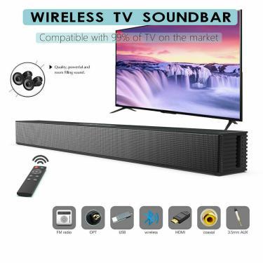 Imagem de Alto-falante soundbar para tv, com fio e sem fio, home theater, 40w, bluetooth, com subwoofer,
