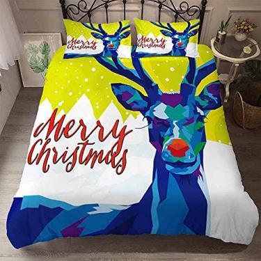 Imagem de Conjunto de capa de edredom com tema de Natal para árvore de Natal conjunto de cama de alce têxteis para casa de microfibra macia Twin Full Queen King Size para escolha (sem edredom) (04, Twin)