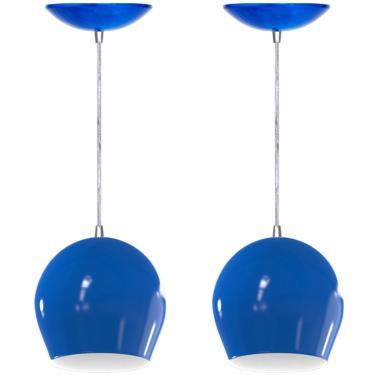 Kit 2 Pendentes Bola (Azul / Branco)