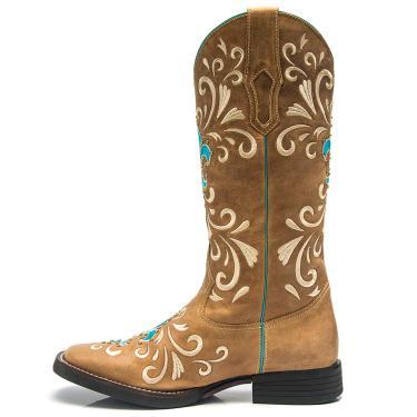 50b6d17e346 Bota Texana Feminina - Fossil Caramelo - Roper - Bico Quadrado - Cano Longo  - Solado