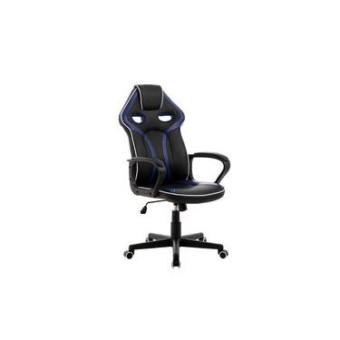 Cadeira Gamer Pelegrin Em Couro Pu Pel-3017 Preta E Azul