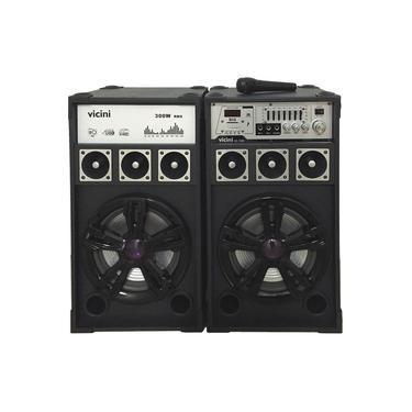 Conjunto 2 Caixas Acústicas Bluetooth 300WRMS Vicini VC-7300 com Microfone e Entradas USB, SD e para Guitarra Preto