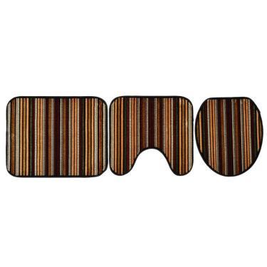 Imagem de Conjunto com 3 Tapetes para Banheiro Royal Luxury Kilim Preto e Caramelo