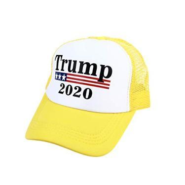 ABOOFAN Trump 2020 Sun Hat Criativo Presidente Eleição Boné de beisebol Chapéu exclusivo de Hip Hop para homens e mulheres - amarelo decoração de casa