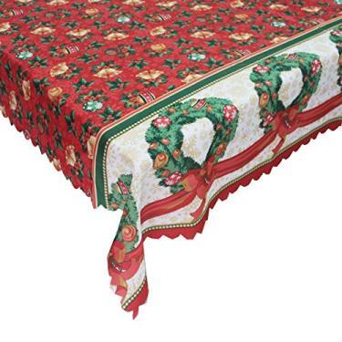 Imagem de giveyoulucky 150 x 180 cm Toalha de mesa de Natal com estampa temática de Natal retangular requintada capa de mesa de poliéster decoração de festa F