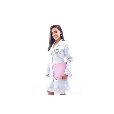Jaleco Branco Medicina Feminino em Gabardine Luxo