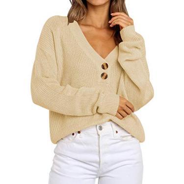 Logene Suéter pulôver feminino de malha leve com botão e gola V, Creme, Large