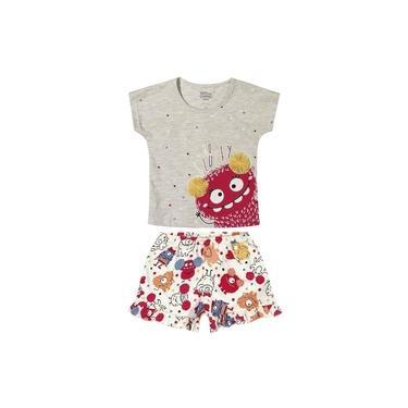 Pijama Infantil Monstro Mescla Elian Cinza M