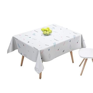 Imagem de TreeLeaff Toalha de mesa retangular à prova d'água, à prova de óleo, capa de mesa de PEVA, limpa para jantar, cozinha, casamento e festas, acampamento, mesa 90 a 137 cm, 180 a 137 cm