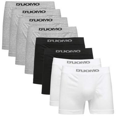 Imagem de Kit 8 Cuecas Boxer Algodão, Duomo, Masculino, Mescla/Preto/Branco, P