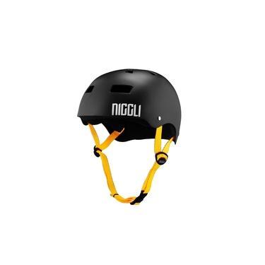 Capacete Niggli Pads Profissional Iron Preto Fosco Fita Amarela