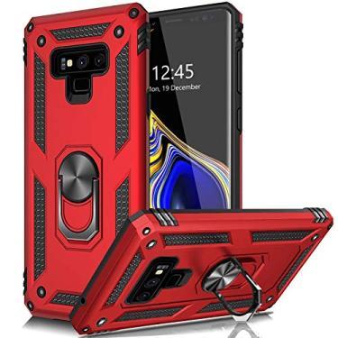 AUPAI Capa para Galaxy Note 9 resistente com queda de 4,5 m testada à prova de choque com anel magnético, capa protetora para celular para Samsung Galaxy Note 9 vermelha