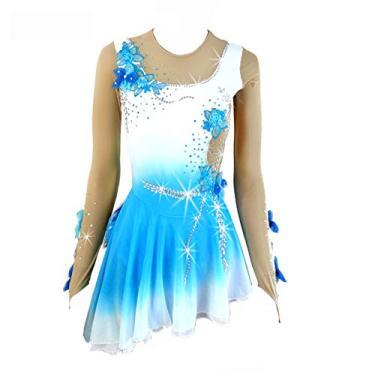 Imagem de Vestido de patinação no gelo para meninas vestido assimétrico sem mangas branco azul decalque manual floral, Azul, G
