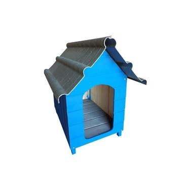 Casinha Para Cachorro - Telhado Ecológico - Grande - Azul