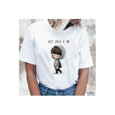 Blusa Feminina Baby Look Kpop Bts Just Smile Jin Suga