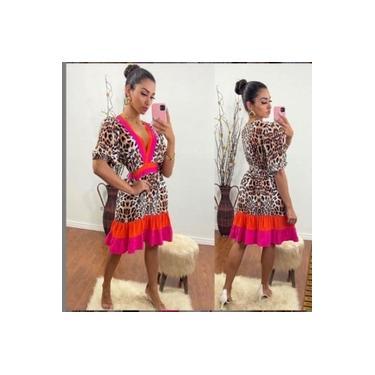 Vestido Feminino Decote V Animal Print Colorido Tendência