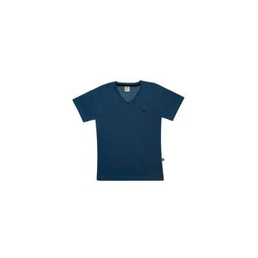 Camiseta Infantil Masculina Básica Bordada Petróleo Mikamix - MM1878-PT