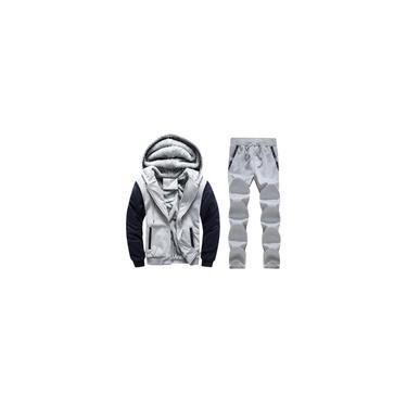Moletom de inverno masculino com capuz quente e grosso de pele com zíper dentro de suéter conjunto de calças casaco