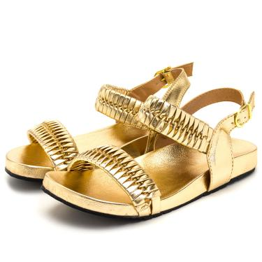 Imagem de Sandalia Birken Em Napa Soft Dourado Blogueira Lançamento  feminino
