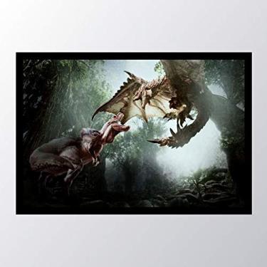 Quadro com moldura monster hunter world e_001