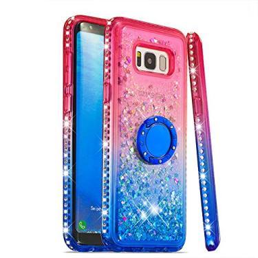 Capa GLORYSHOP para Samsung Galaxy S8, glitter gradiente areia movediça Bling diamante flutuante líquido com anel suporte TPU macio bumper para meninas capa feminina para Galaxy S8 Plus, rosa e azul