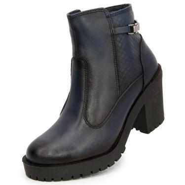 Bota Ankle Boot Salto Médio Sapatofranca Não Possui Cadarço Azul Escuro  feminino