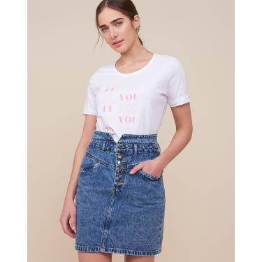 saia jeans com recorte v Feminino AMARO AZUL MÉDIO 36