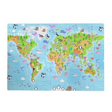 Imagem de ColourLife Quebra-cabeças quebra-cabeça presente para adultos, adolescentes, animais, mapa-múndi de madeira, 300/500/1000 peças, multicolorido