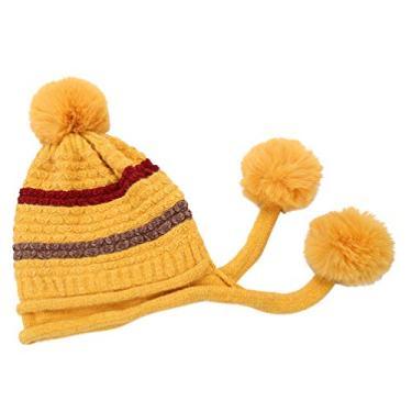 VALICLUD Gorro Quente de Inverno para Homens Mulheres Gorro de Malha de Lã Inverno Pom Pom Gorro Amarelo