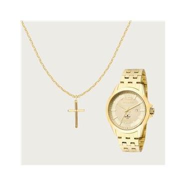 4ebeb862d7fae Kit Cordão Crucifixo Ouro 18K com Relógio Technos Masculino 2115KLV 4X