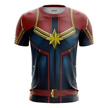 Camisa Camiseta Capitã Marvel - Trajem, uniforme, 3d (Os vingadores, kree) (5-7 Anos)