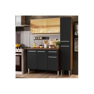 Imagem de Cozinha Compacta Madesa Emilly Gold com Armário, Balcão e Paneleiro - Rustic/Preto