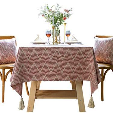 Imagem de HUALUDA Toalha de mesa, toalha de mesa retangular, algodão, linho, bordado, sem rugas, anti-desbotamento, lavável toalha de mesa para cozinha, festa de jantar, retangular/oblongo (cor: rosa, CH: 55,155 cm)