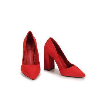 294b21861 Sapato Scarpin Salto Grosso Bruna Rocha - Vermelho